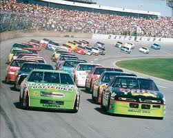 A view of a NASCAR race. (Image from a Free NASCAR Images site)
