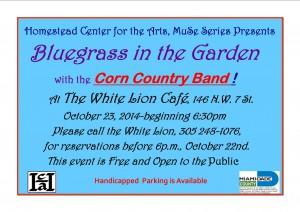 Bluegrass in the Garden Reschedule for Thursday, 20 Nov 2014