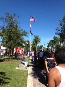 Crowd Waiting for Veterans Day Parade
