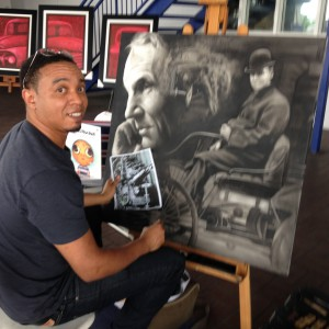 R.JacksonArt working on a piece from a photo