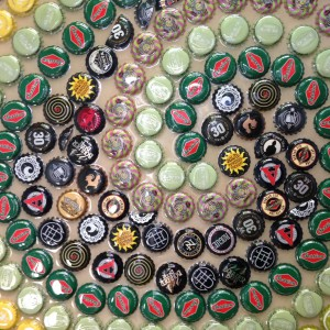 Close-up Of A Section Of The Bottle Cap Mosaic