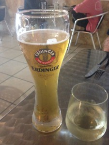 Enjoying German Draft and a Riesling at Lucy's in Key Largo